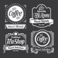 Chalkboard calligraphy banners and labels vintage style blackboard design signs label designs Royalty Free Stock Photography