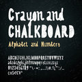 Chalkboard and crayon alphabet Royalty Free Stock Photo