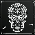 Chalkboard Day Of The Dead Skull sketch. Draw  sugar flower.  tattoo. Vector illustration Royalty Free Stock Photo