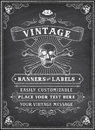 Chalkboard death pirate invite vintage looking template for a party or event with or theme on a background Royalty Free Stock Photography