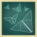 Chalkboard with drawing of origami butterflies in hairline outli outline style Royalty Free Stock Photography
