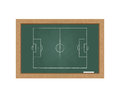 Chalkboard with a football field isolated on white background Royalty Free Stock Photography