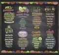 Chalkboard fruit menu vector set