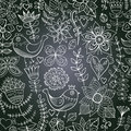 Chalkboard seamless floral pattern copy that square to the sid side you ll get seamlessly tiling which gives resulting Stock Photo