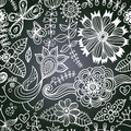 Chalkboard seamless floral pattern copy that square to the sid side you ll get seamlessly tiling which gives resulting Royalty Free Stock Image