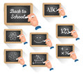 Chalkboard signs for school reentry illustration of a set of cartoon with teacher s hand drawing concept and topics science happy Stock Images