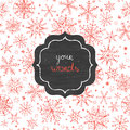 Chalkboard snowflakes frame seamless pattern vector background with drawn on light sky background Royalty Free Stock Photo