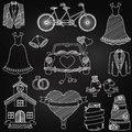 Chalkboard style wedding themed doodles and elements Stock Images