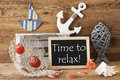 Chalkboard With Summer Decoration, Text Time To Relax Royalty Free Stock Photo