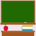 Chalkboard, teacher desk, books and apple