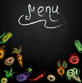 Chalkboard with vegetables for restaurant menu vector illustration of Royalty Free Stock Photo