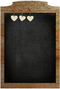 Chalkboard White Love Valentine's heart hanging on wooden frame Royalty Free Stock Photo