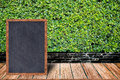 Chalkboard wood frame, blackboard sign menu on wooden table and grass wall background.