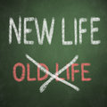 Chalkboard with words new life old life and Royalty Free Stock Photos