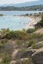 CHALKIDIKI, CENTRAL MACEDONIA, GREECE - AUGUST 26, 2014: Seascape of Lagonisi Beach at Sithonia peninsula, Chalkidiki Royalty Free Stock Photo
