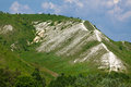 Chalky hills with vegetation in middle of russia the Stock Images
