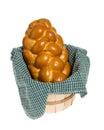 Challah bread in wicker basket Stock Image