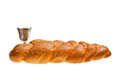 Challah and kiddush cup silver for jewish sabbath Royalty Free Stock Photo