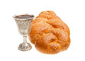 Challah and kiddush cup silver for jewish sabbath Royalty Free Stock Image