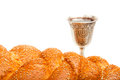 Challah and kiddush cup silver for jewish sabbath Royalty Free Stock Photos