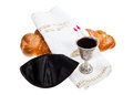 Challah kiddush cup and yarmulke silver for jewish sabbath Royalty Free Stock Photo