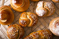 Challah for shabbat in different shapes and sizes the sabbath and rosh hashanah Royalty Free Stock Photo