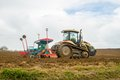 Challenger MT765C tracked tractor drilling seed in field Royalty Free Stock Photo