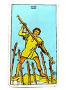 7 Seven of Wands Tarot Card Challenges Opposition Enemies Rivalry Competition Gritty Determination Tenacity Stamina Royalty Free Stock Photo