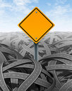 Challenges symbol with blank road sign Royalty Free Stock Photos