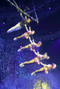 Challenging complex aerial acrobatics swing of xiamen lingling circus amoy city china Royalty Free Stock Image