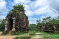 Cham tower at my son quang nam viet nam ruined temple of the ancient champa da nang vietnam this beautiful temple or tomb with the Stock Image