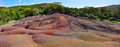 Chamarel seven coloured earths. panorama Stock Photo