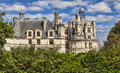 Chambord castle detail of the famous located in the loire valley in a summer day framed by beautiful green plants Royalty Free Stock Image