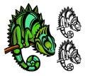 Chameleon cartoon character isolated on white background Stock Image