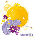 Chameleon and flowers Stock Photo