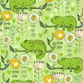 Chameleon with flowers Royalty Free Stock Photo