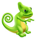 Chameleon mascot pointing illustration of a cartoon standing and Stock Photography