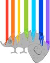 Chameleon and rainbow grey of paint Stock Images