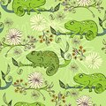 Chameleon vector hand drawn illustration with cartoon Stock Images