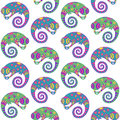 Chameleons decorative seamless pattern vector illustration Stock Image