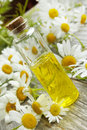 Chamomile essence and flowers essential oil bottle scented Stock Photo