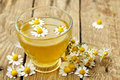 Chamomile tea cup of with flowers Stock Photography