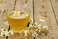 Chamomile tea cup of with flowers Royalty Free Stock Photography