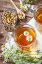 Chamomile tea dried and fresh and brewed Stock Photo