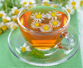 Chamomile tea in a glass cup on a green napkin Royalty Free Stock Photos