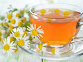 Chamomile tea in a glass cup on a white table Stock Photography