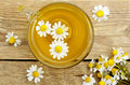 Chamomile tea top view of cup of with flowers Royalty Free Stock Photos
