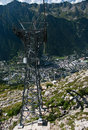 Chamonix cable car pillar of the leading from to aiguille du midi french alps Royalty Free Stock Images