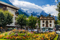 Chamonix france august image with and mont blanc mountain peak taken on august mont blanc is a commune in Stock Images
