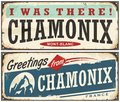 Chamonix Mont Blanc retro souvenir sign